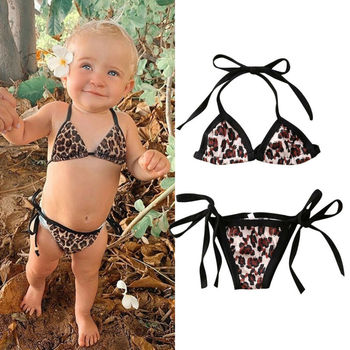 цена CANIS Toddler Baby Girls Swimwear Leopard print Bandage Swimsuit 2PCS Bikini Set Beachwear онлайн в 2017 году