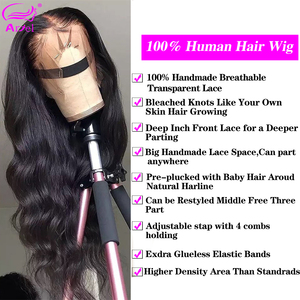 Image 3 - Transparent Lace Front Human Hair Wigs Body Wave Wig Brazilian Remy 13*4 Body Wave Lace Frontal Wig Pre Plucked With Baby Hair