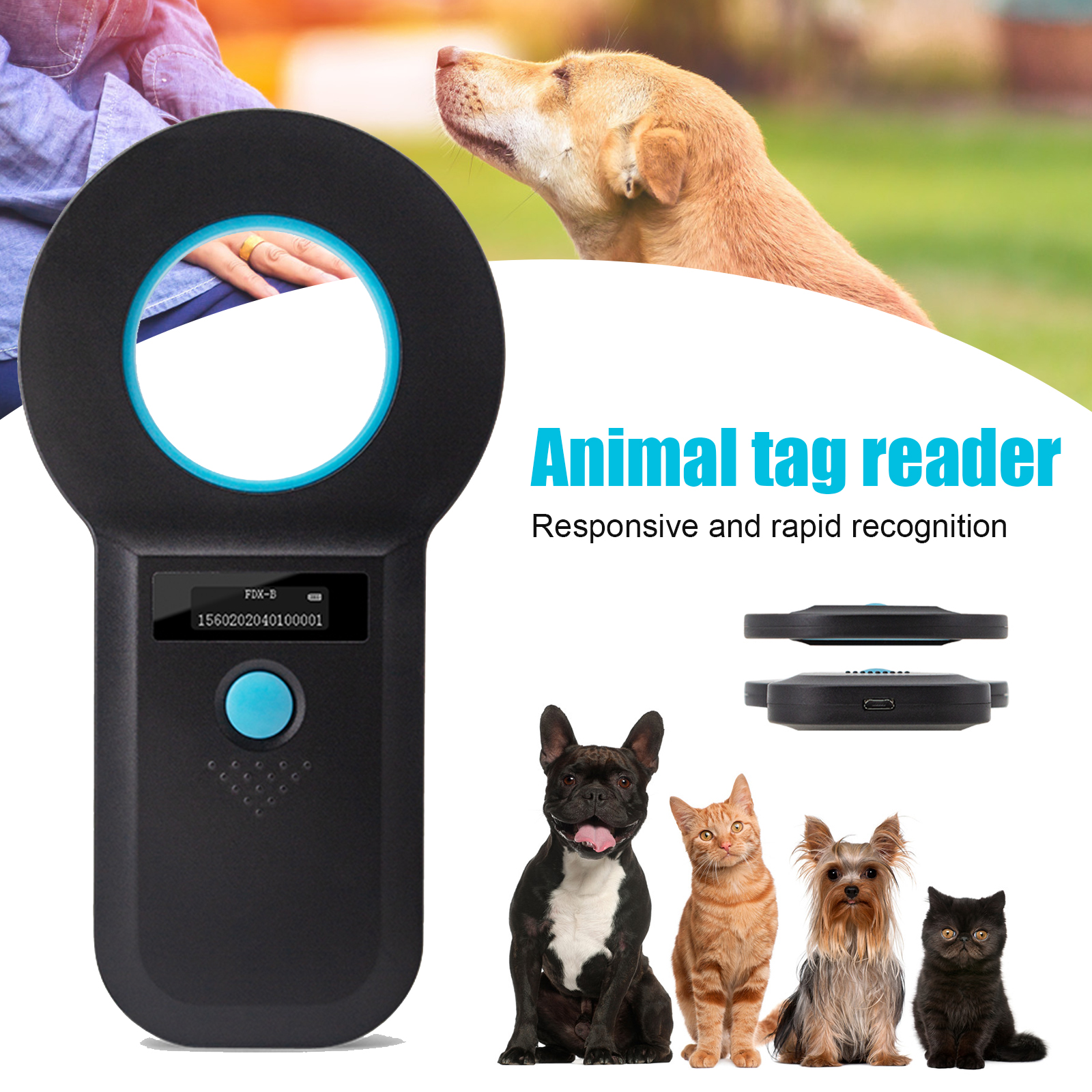 EMID ISO Chip Animal Tag Microchip Reader Portable OLED Pet Dog Cat Scanner For Tag RERI889
