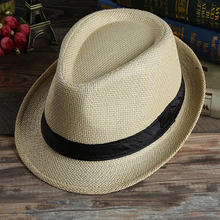 Men Women Beach Sunhat Cowboy Wide Brim Straw Grass Trilby Cap Panama Summer Autumn Bowler Jazz Hat(China)