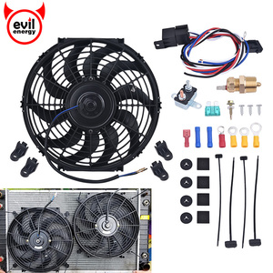 SPEEDWOW Car Electric Radiator Cooling Fan Kit 12 14 16Inch 2600CFM Thermostat Relay Switch Kit 12V 160W Automobile Radiator Fan