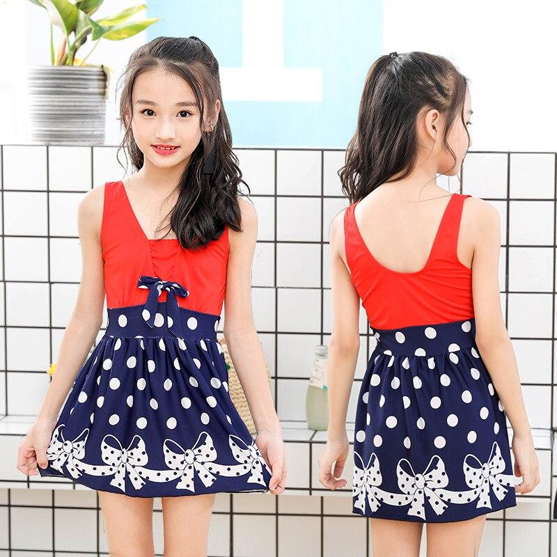 New Style One-piece Swimsuit For Children Cute Wide Camisole Round Spot Skirt Girls Children Tour Bathing Suit Skirt Swimwear