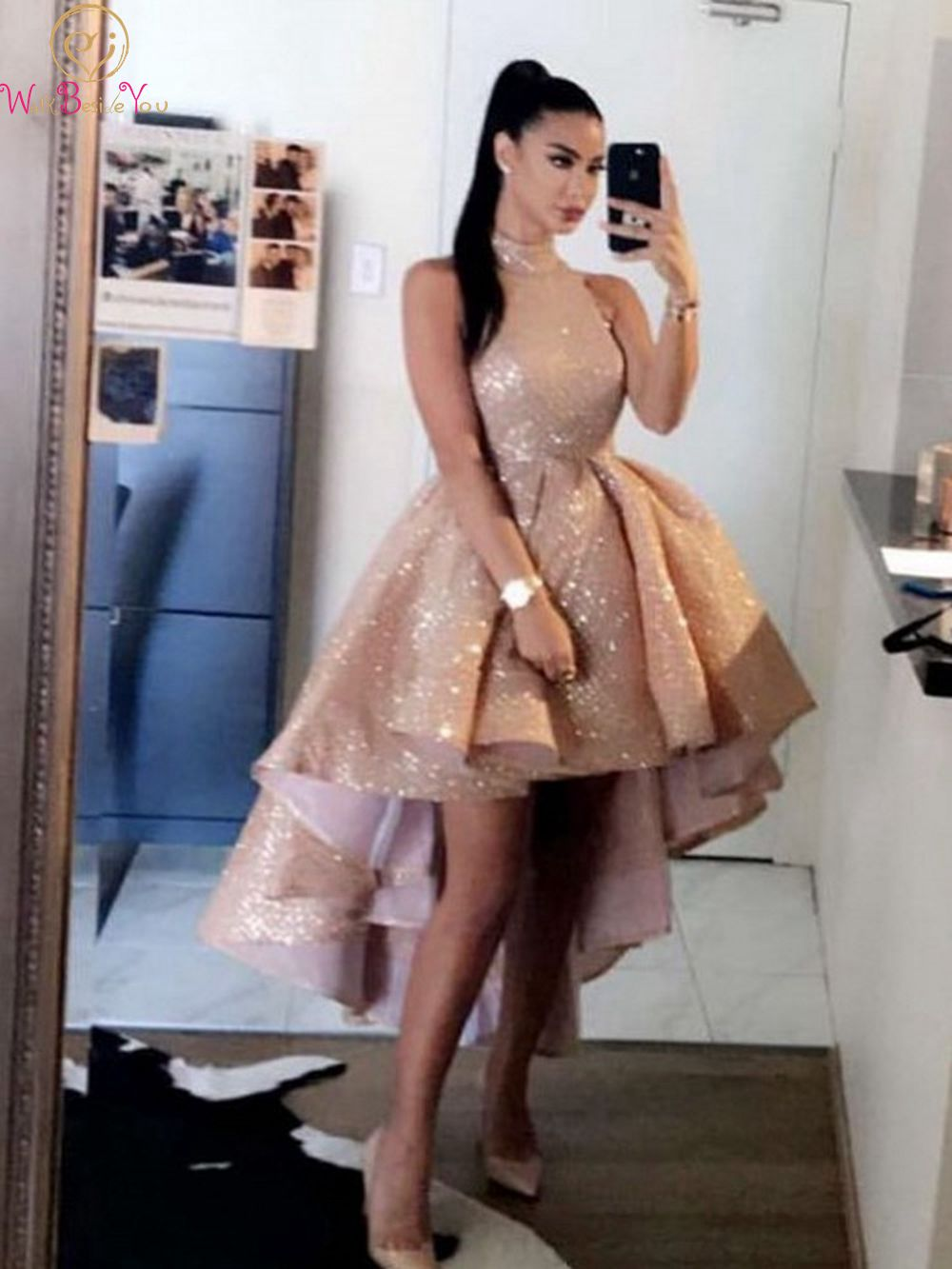 Elegant Rose Gold High Neck   Prom     Dresses   2020 Sexy Short Front Long Back Sleeveless Formal Party Evening Gowns vestido de gala