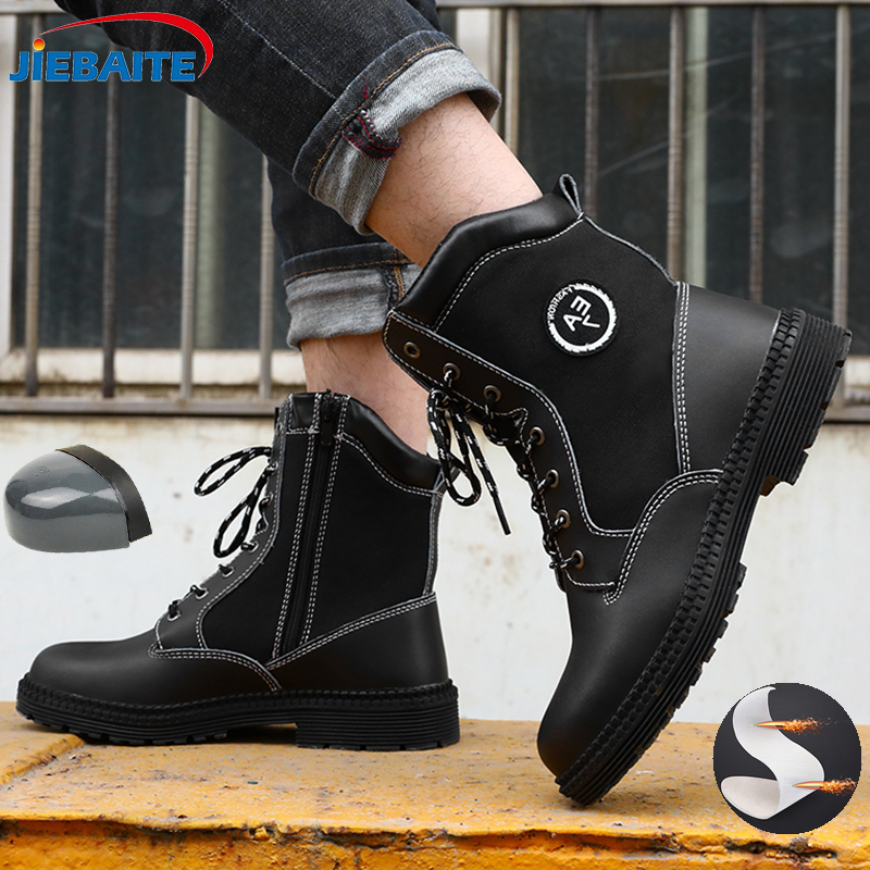 Men Work Safety Boots Steel Toe Shoes Breathable Work Safety Boot Protective Puncture Proof Work Shoes For Men Casual Sneakers