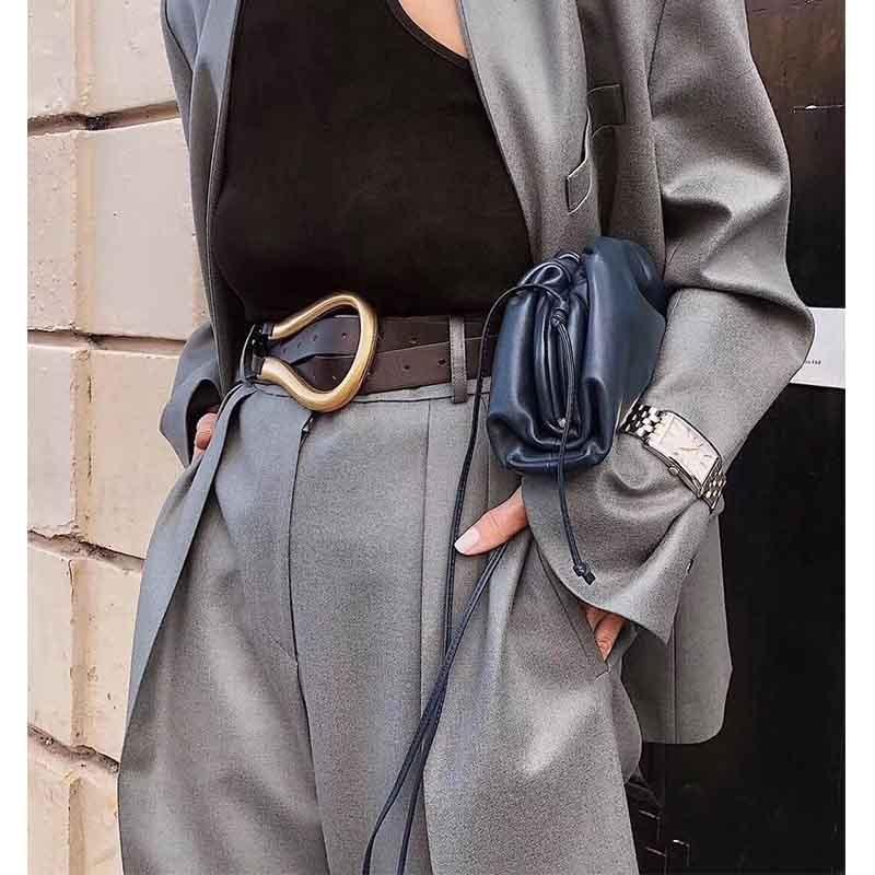 Cosmicchic Luxury Designer Leather Belts For Women High Quality Irregular Metal Buckle Fashion Double Waist Belt