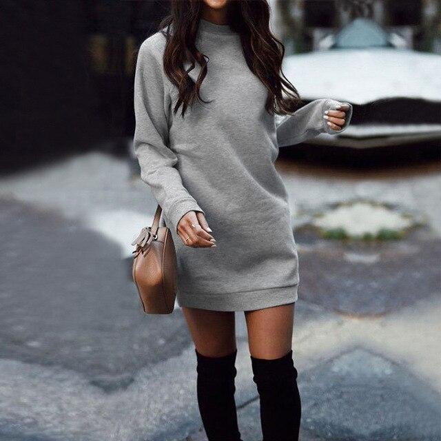 Женское плотное прямое платье-свитшот с длинным рукавом и круглым вырезом, модель WDC4058 на осень и зиму, 2020 4