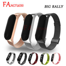 FANGTUOSI Mi band 3 4 Metall Strap für Xiaomi Mi Band 3 4 Smart Handgelenk Band Armband Armband Edelstahl miBand 4 3 Handgelenk Gurt