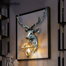 Vintage Antler Wall Lamp Retro Deer Sconce Wall Lights for Home Living Room Bedroom Bar Reading Led Indoor Wall Lamps Art Decor