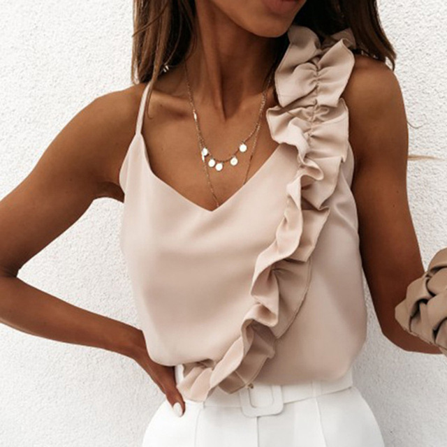 Women Summer Blouse Shirts Sexy V Neck Ruffle Blouses Backless Spaghetti Strap Office Ladies Sleeveless Casual Tops 2