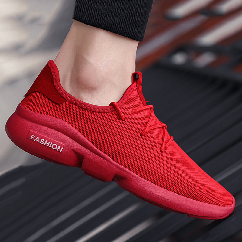 Men's Shoes Summer Casual Shoes Large Size Red Sneakers Outdoor Running Shoes Fashion Sport Shoes Comfortable Breathable Cheap