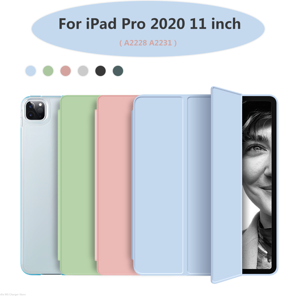 Funda For iPad Pro 2020 11 inch Case PU Leather Trifold Stand PC Hard bottom with