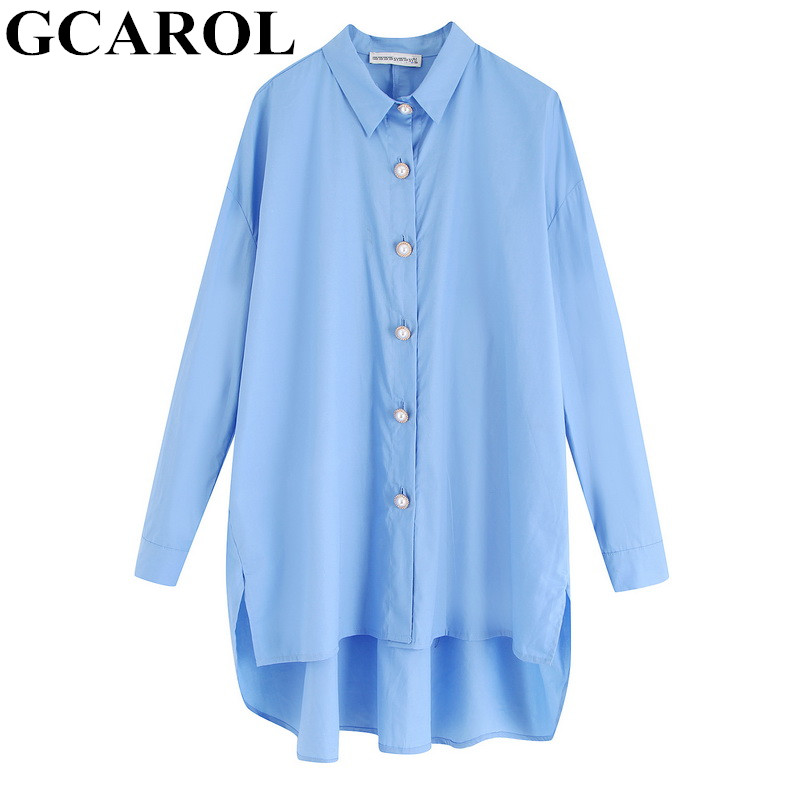 GCAROL 2020 New Early Spring Women Oversize Blouse Asymmetric Length Boyfriend Style Casual Streetwear Shirt Tops