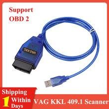 VAG-COM kkl 409.1 obd2 ferramenta de varredura do varredor do cabo de usb para audi vw seat volkswagen vag com apoio completo automático de kw 1281 e kw 2000