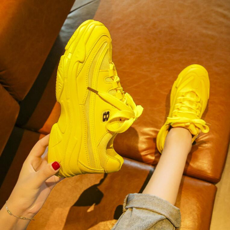 Hot Sales Chunky Sneakers Women Vulcanize Shoes Bright Candy Color Casual Shoes Woman Sneakers Women Flats Platform Ladies Shoes