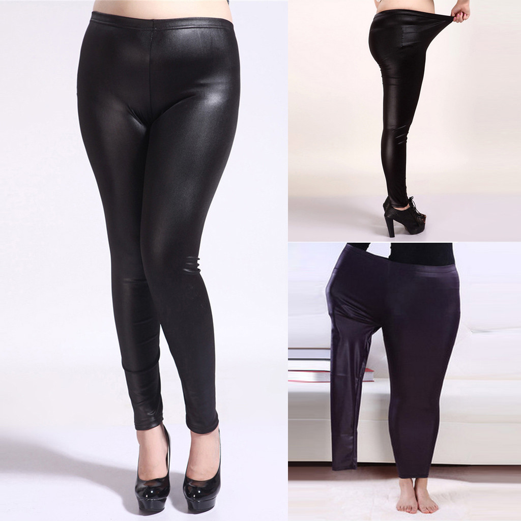 S-3XL New Autumn 2019 Fashion Faux <font><b>Leather</b></font> <font><b>Sexy</b></font> Thin Black Leggings Leggins Leggings Stretchy Plus Size <font><b>4XL</b></font> 5XL S20 image