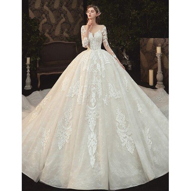 Beading Pearls Appliques Lace Illusion Princess Ball Gown Wedding Dress With Long Sleeve Vestido De Noiva Princesa 2