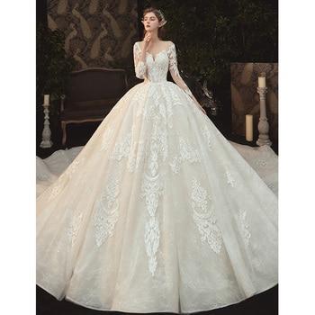 Beading Pearls Appliques Lace Illusion Princess Ball Gown Wedding Dress With Long Sleeve Vestido De Noiva Princesa