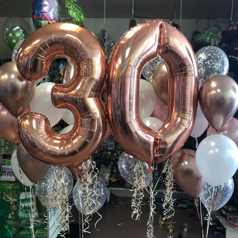 Age Number Baloons Air Fill Self Inflating ballon Happy Birthday Foil Balloons
