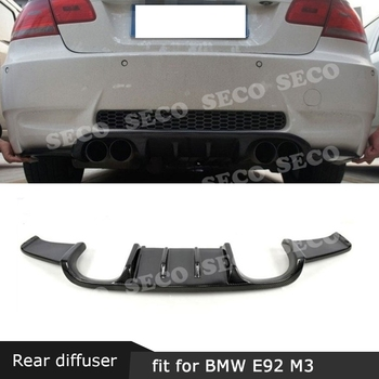 For BMW E92 M3 3 Series 2008-2013 Rear Bumper Lip Diffuser HM Style Carbon Fiber / FRP Back Skid Plate Cover Direct installation image