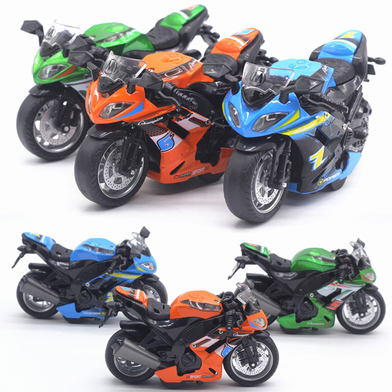 1:14 Alloy Car Model Simulation Alloy Motorcycle Racing Car Toy   Simulation Sound And Light Toys For Children Model Decoration