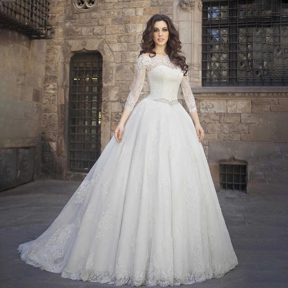 Ollymurs 2020 Luxe Trouwjurk Lange Mouw Applique Kant Wedding Noble Applique Moslim Brides Ondersteuning Maatwerk