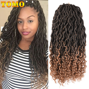 TOMO Bohemian Faux Locs Curly Crochet Braid 18inch 24 Strands Ombre Braiding Extensions Synthetic Crochet Hair for Black Women(China)