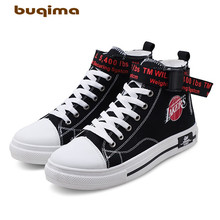 Buqima mens middle sneakers canvas shoes small white student shoes, trendy casual
