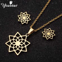 Yiustar Plant Mandala Flower Necklace Jewelry Sets Chain Chokers for Women Pendant Necklaces Stainless Steel Stud Earrings Gifts(China)