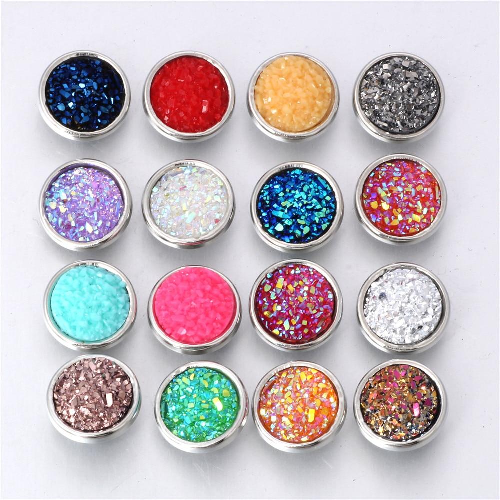 10pcs/lot Mixed Color 12MM Random Resin Snap Button For Women Fit 12mm Snap Bracelet Bangle Earrings Necklaces