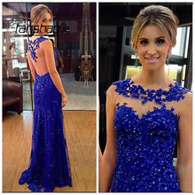 Evening-Dress Royal-Blue Applique-Tank Saudi Dubai Special-Occasion Arabic Lace Mermaid