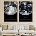 Картина на холсте Черно-белый постер Луны и земли из космоса украшение для гостиной настенная Скандинавская живопись