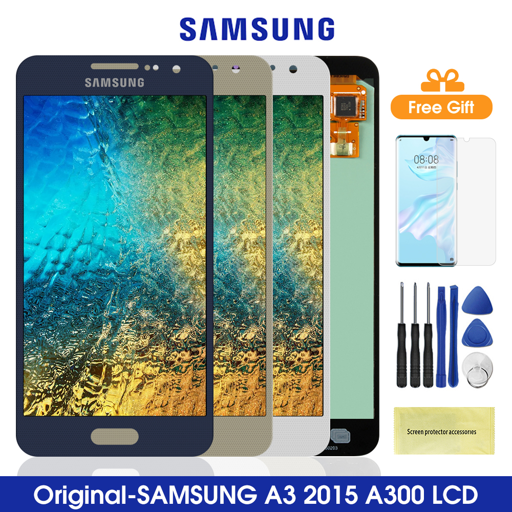 4.5'' Amoled A300 <font><b>Lcd</b></font> For <font><b>Samsung</b></font> <font><b>Galaxy</b></font> <font><b>A3</b></font> 2015 <font><b>LCD</b></font> Display Touch Screen Digitizer For <font><b>Samsung</b></font> A300 A3000 Lcds image