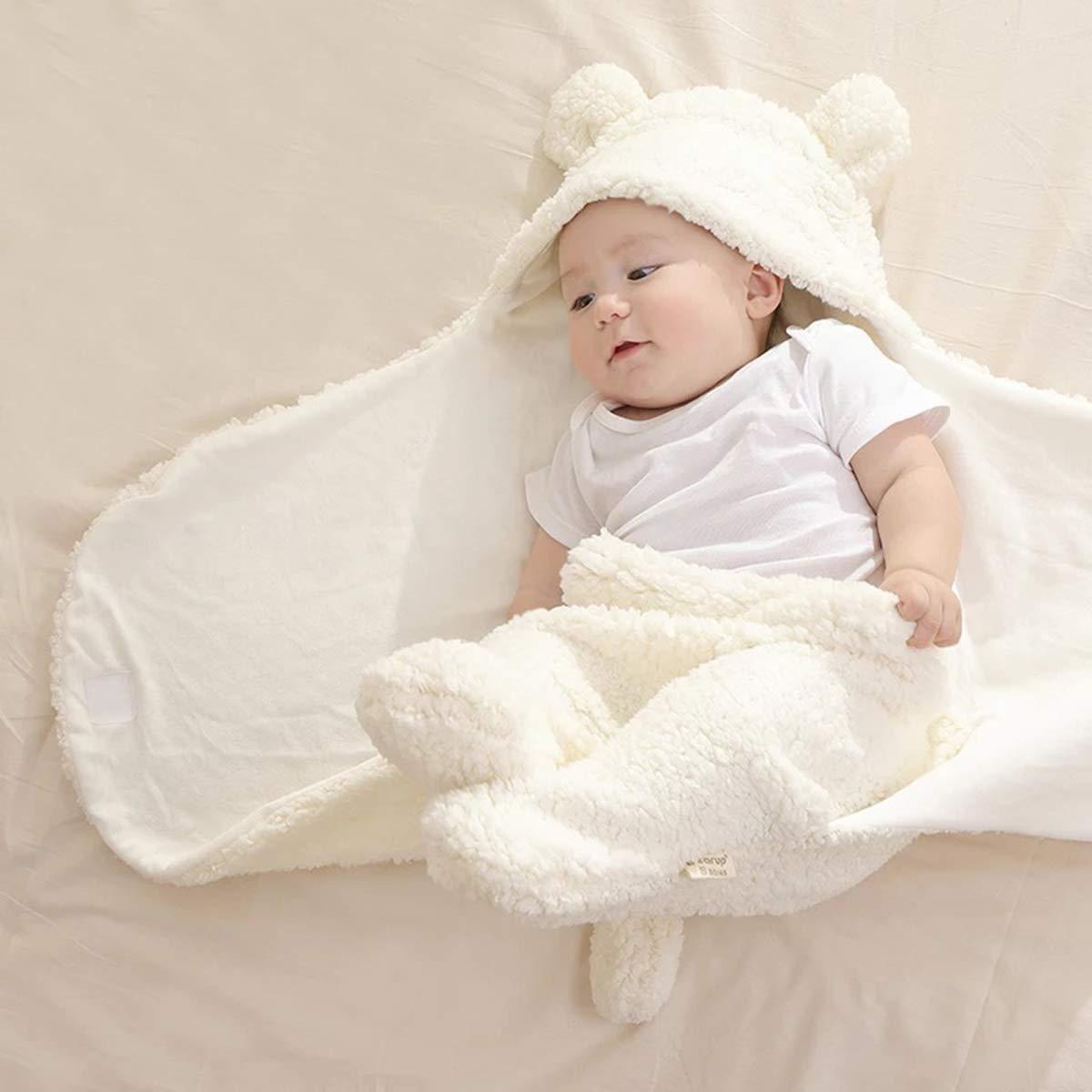 Newborn Cotton Plush Hooded Blanket Warm Soft Swaddle Sleeping Bag Stroller Wrap Clothes Sleeping Bags