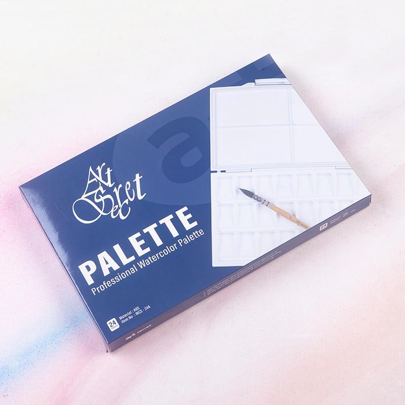 Leak-Proof 24 Grid Moisturizing Watercolor ABS Palette - Peel-Off Palette Foldable Travel Paint Palette Box Art Supplies