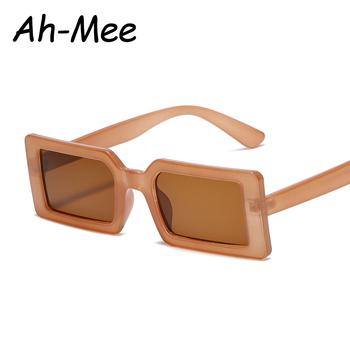 Kwadratowe damskie okulary przeciwsłoneczne 2020 moda Vintage marka mały prostokąt brązowy obiektyw damskie okulary dla mężczyzn Retro okulary óculos tanie i dobre opinie Ah-Mee CN (pochodzenie) WOMEN Rectangle Dla dorosłych Stop Gradient UV400 42mm Z poliwęglanu s2064 59mm