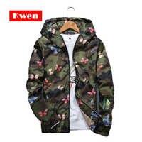 2019 new autumn print bow tie men's hooded windbreaker jacket men's clothing Men's casual hooded sweater camouflage jacket