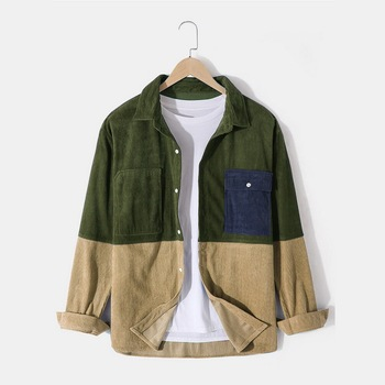 2020 Autumn Men Shirt Button Corduroy Blouse Tops Fashion Long Sleeve Turn-down Patchwork Blouse Man