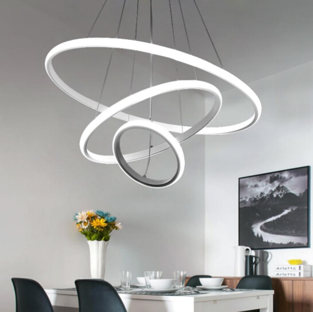 LED Round Pendant Ceiling Light Modern For Living Room Dining Room Circle Rings Acrylic Aluminum Body LED Ceiling Lamp Fixture