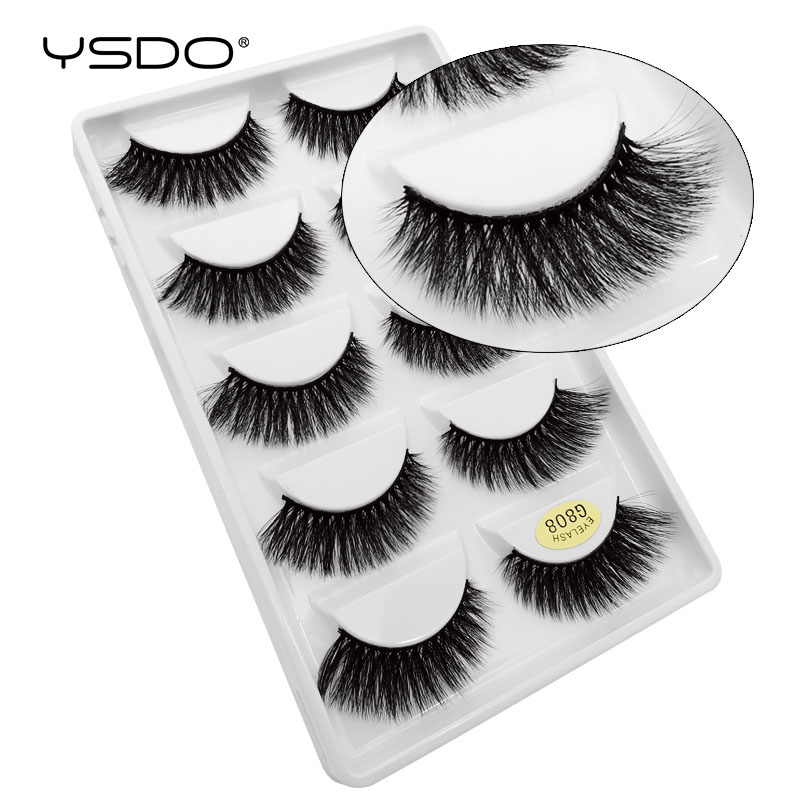 YSDO Lashes 5 Pairs Mink Eyelashes Natural False Eyelashes Fluffy Lashes Makeup Mink Strip Lashes Cilios Mink 3d Fake Lashes 808