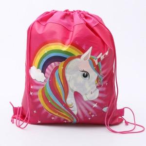 Image 5 - 1pc Cotton Unicorn Print Bag For Girls Kids Toys Soft Plush Drawstring Backpack For Children Toys Storage Bag Schoolbag For 1kg