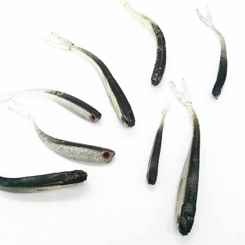 10Pcs 8Cm/2Gยางนุ่มเหยื่อตกปลาล่อDrop Shot Lure ShadสำหรับPerch Pike Trout tail Lureอุปกรณ์ตกปลา