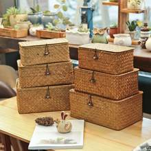 Caixa de armazenamento de vime com tampa mão-tecido caixa de jóias de vime organizador de maquiagem recipiente de alimentos caixas de armazenamento