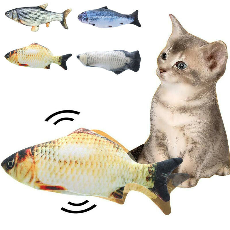 2020 New Electric Interactive Cat Toys Wagging Fish Realistic Plush Catnip Fish Mint Toys