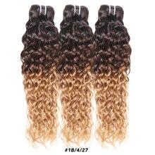 Ombre Honey Blond Brazilian Hair Weave Bundles Water Wave Bundles Highlight 1B 4 27 30 Bundles Remy