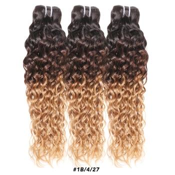 Ombre miód Blond brazylijski włosy wyplata wiązki fala wody wyróżnij 1B 4 27 30 zestawy Remy 4 3 kręcone oferty