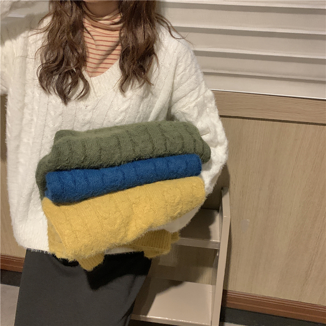 Ailegogo Knitted Women Sweater Autumn Winter Casual Female V-neck Knit Pullovers Solid Color Loose Fit Ladies Knitwear Tops 4