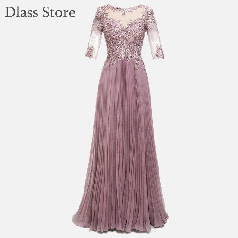 Rose Pink Mother Dresses Illusion Appliques Back O-neck Dignified Sequined Half Length Sleeves  вечерние платья Chiffon платье