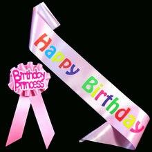 Feliz aniversário divertido presente de Aniversário da menina & menino broche faixa definida rosa azul mulheres homens ribbonbadge 18 21 adulto fontes do partido do evento