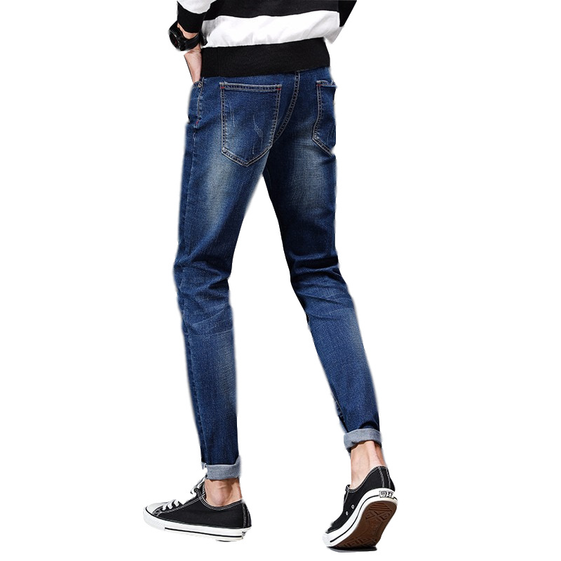 Korean-style Slim Fit Elasticity Cowboy 9 Points Skinny Pants Men Thin Versitile Fashion Capri Jeans 1799