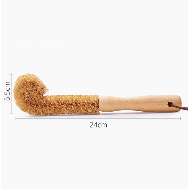 Bottle Cleaning Brush, Durable Beechwood Handle, Dense Natural Coconut Fibre, Hangable Storge, Easily Cleans Washing Brush 6